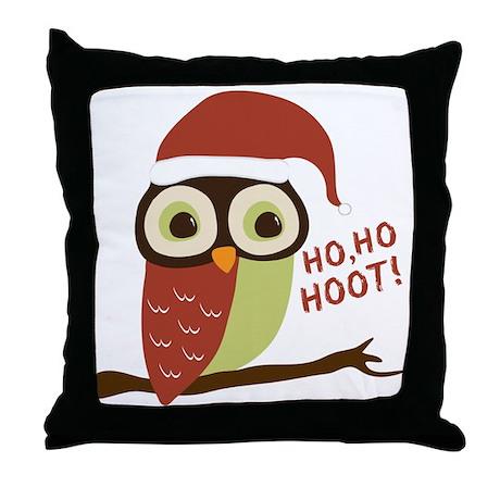 Santa Owl Christmas Throw Pillow