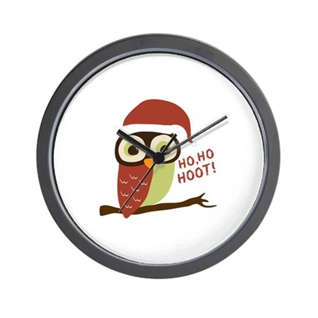 Santa Owl Christmas Wall Clock