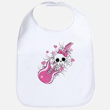 Cute Skull with Pink Guitar Bib