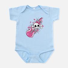 Cute Skull with Pink Guitar Onesie