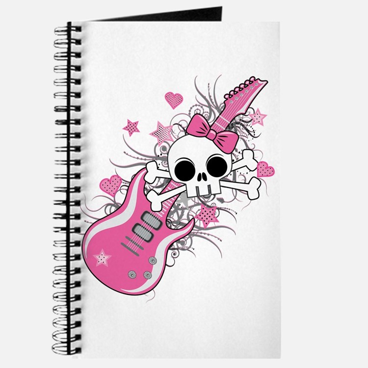Cute Skull with Pink Guitar Journal