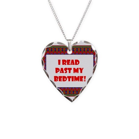 I Read Past My Bedtime Necklace Heart Charm