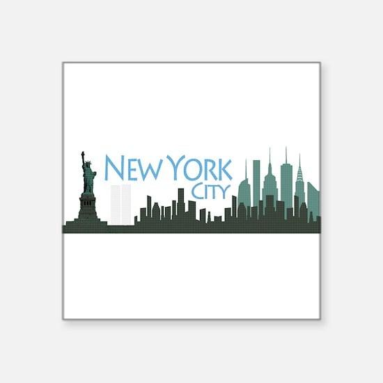 "New York City Skyline Square Sticker 3"" x 3"""