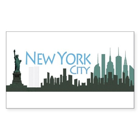 New York City Skyline Sticker (Rectangle)