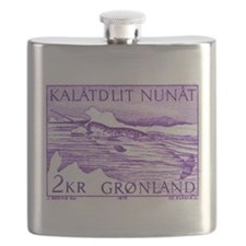 1975 Greenland Narwhal Whale Postage Stamp Flask