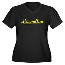 Macmillan, Yellow Women's Plus Size V-Neck Dark T-