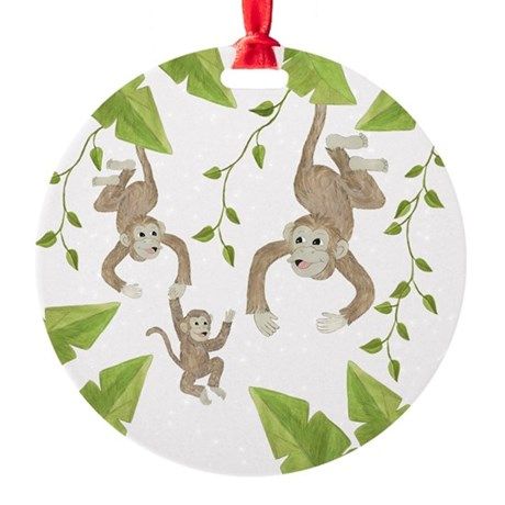 Monkeys Round Ornament