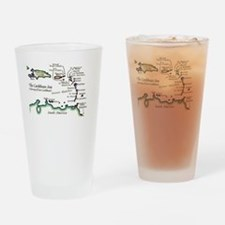 Caribbean Map Drinking Glass