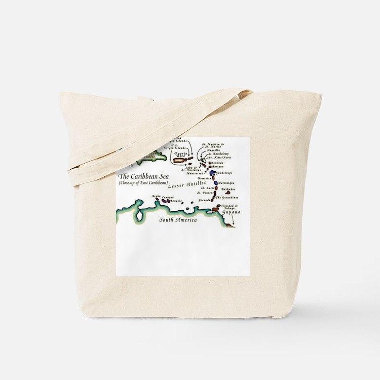 Caribbean Map Tote Bag
