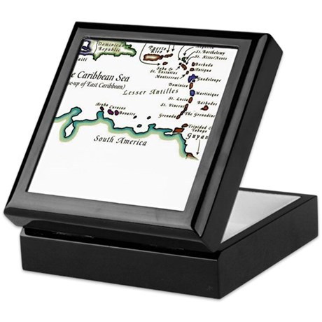 Caribbean Map Keepsake Box