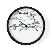 Caribbean Map Wall Clock
