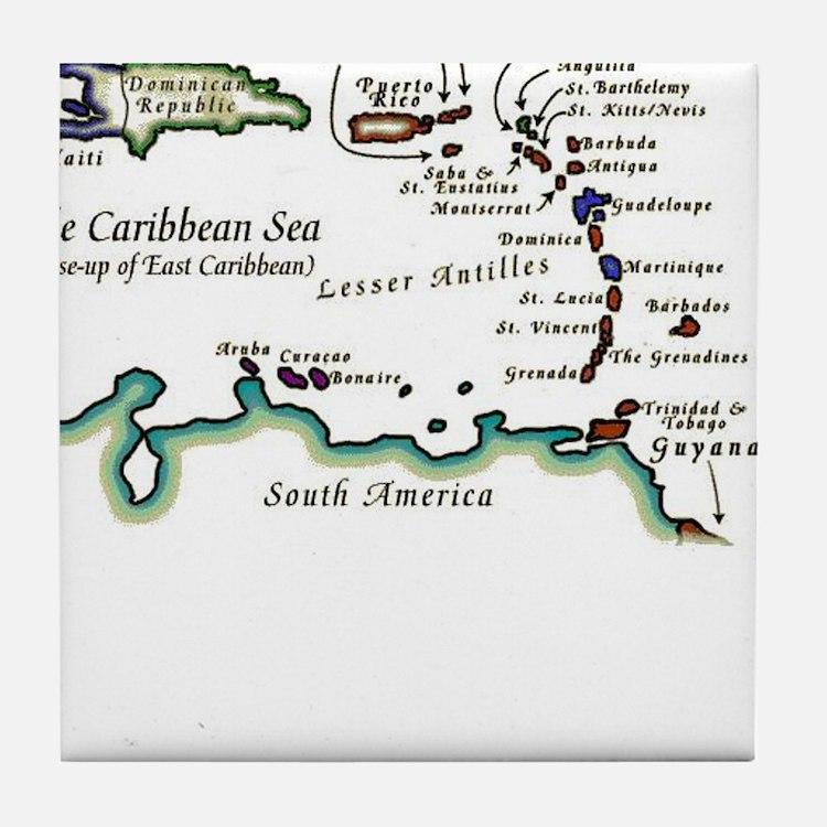 Caribbean Map Tile Coaster