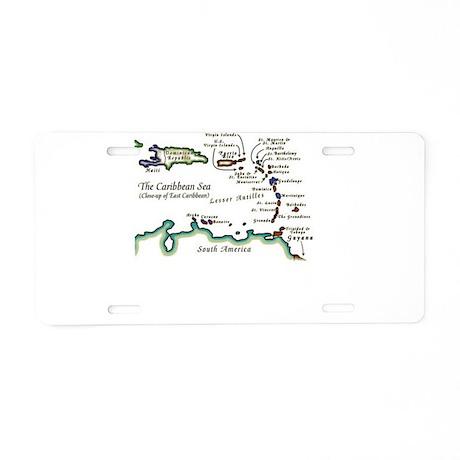 Caribbean Map Aluminum License Plate