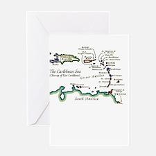 Caribbean Map Greeting Card
