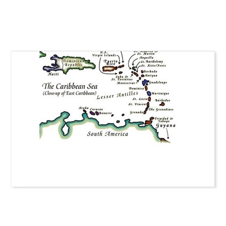 Caribbean Map Postcards (Package of 8)