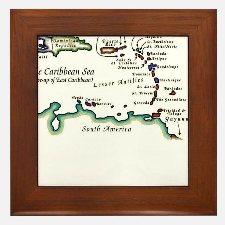 Caribbean Map Framed Tile