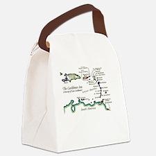 Caribbean Map Canvas Lunch Bag