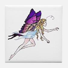 Purple Winged Butterfly Fairy Tile Coaster