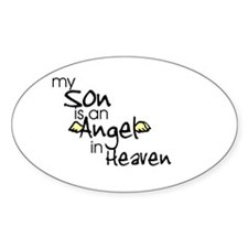My son is an Angel Oval Stickers