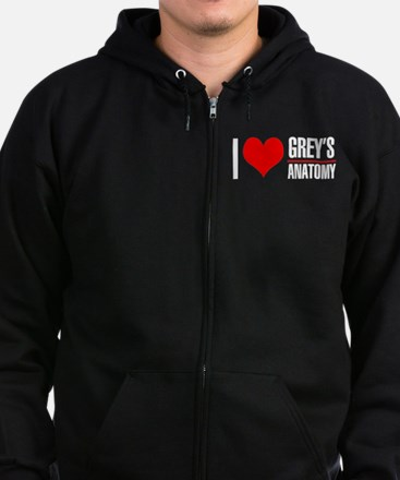 I Love Greys Anatomy Zip Hoodie (dark)