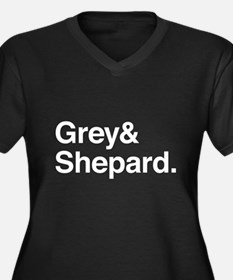 Grey and Shepard Women's Plus Size V-Neck Dark T-S