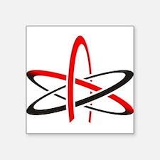 "Atomic Atheism Symbol Square Sticker 3"" x 3"""