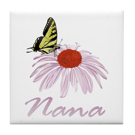 Nana Butterfly Daisy Tile Coaster