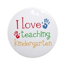 I Love Kindergarten Ornament (Round)