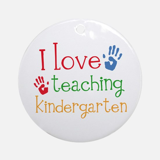 I Love Kindergarten Ornament (Round)