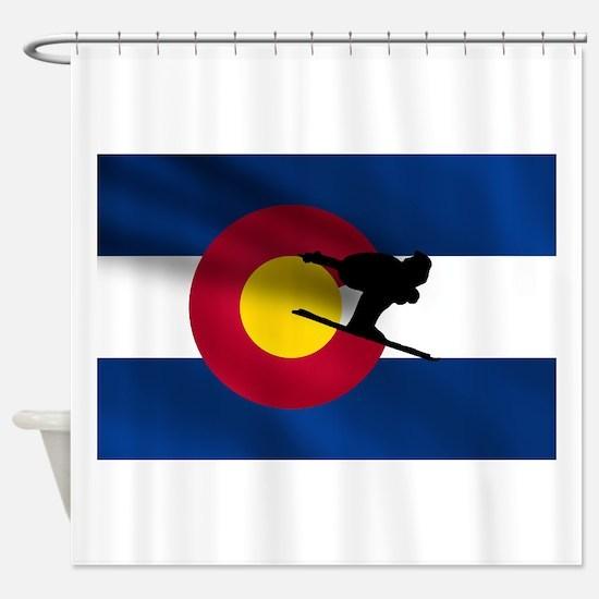 Colorado Skiing Flag Shower Curtain