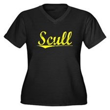 Scull, Yellow Women's Plus Size V-Neck Dark T-Shir