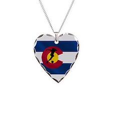 Colorado Soccer Flag Necklace Heart Charm