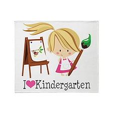 I Heart Kindergarten Throw Blanket