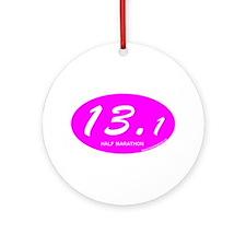 Pink Oval 13.1 Half Marathon p.png Ornament (Round