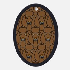 Brown Poodles Oval Ornament