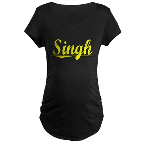 Singh, Yellow Maternity Dark T-Shirt