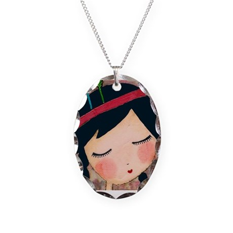 Feathered Girl Necklace Oval Charm