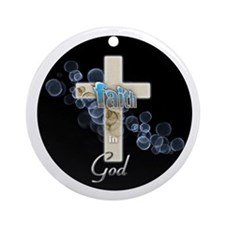 Faith in God gold cross and blue bubbles Ornament