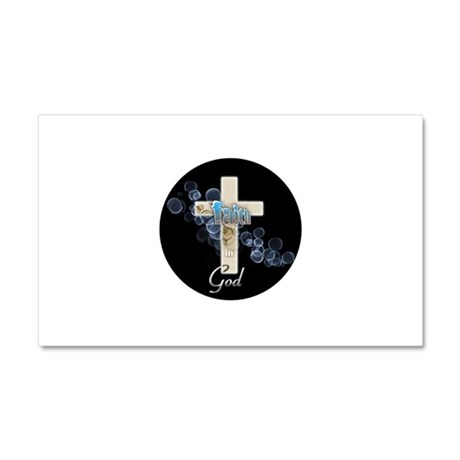 Faith in God gold cross and blue bubbles Car Magne