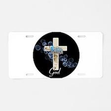 Faith in God gold cross and blue bubbles Aluminum