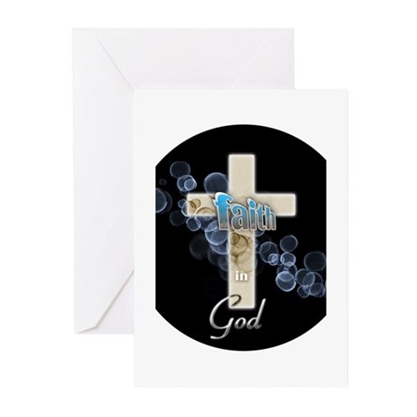 Faith in God gold cross and blue bubbles Greeting