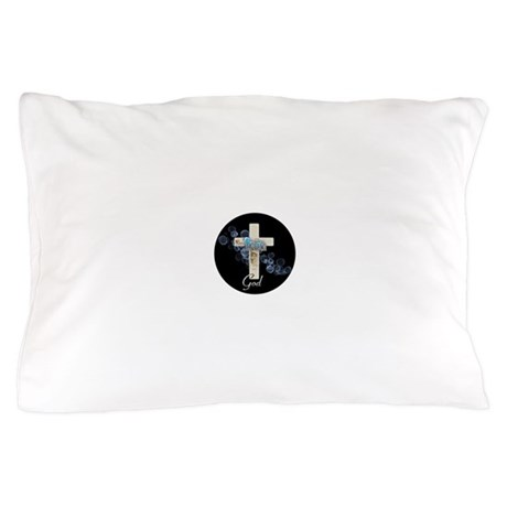 Faith in God gold cross and blue bubbles Pillow Ca