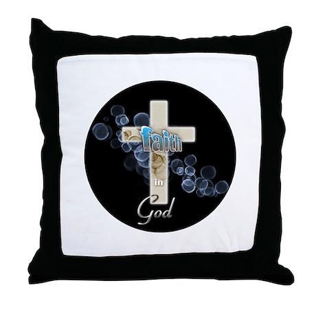 Faith in God gold cross and blue bubbles Throw Pil