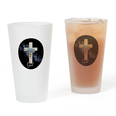 Faith in God gold cross and blue bubbles Drinking