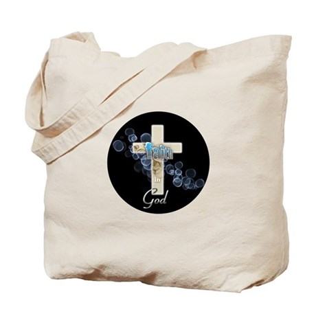 Faith in God gold cross and blue bubbles Tote Bag