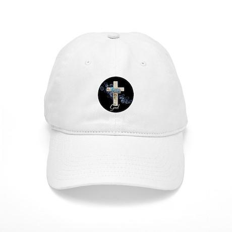 Faith in God gold cross and blue bubbles Cap
