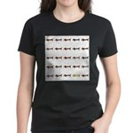 Dachshunds Tiles Women's Dark T-Shirt