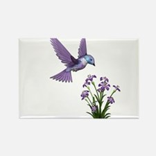 Purple Humming Bird with Flowers Rectangle Magnet