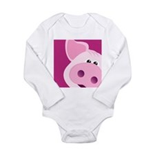 Happy Piggy Long Sleeve Infant Bodysuit