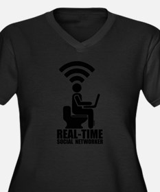 Real-time social networker Women's Plus Size V-Nec